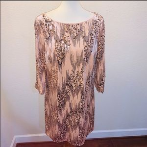 NWOT Eliza J Sequin Pink and Gold Dress Size 18
